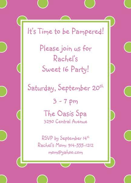 Polka Dot Invitation, Pink and Green