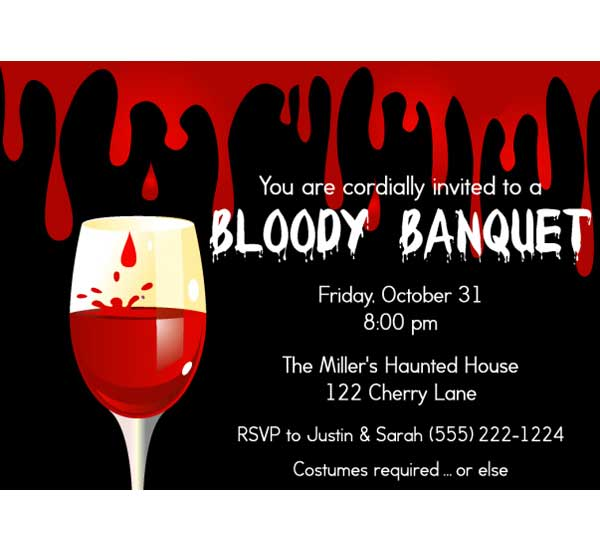 Halloween Bloody Banquet Invitation - halloween invitation