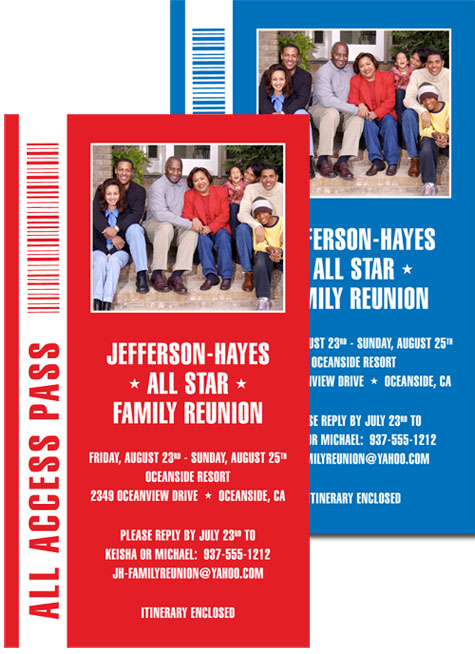 Backstage Pass Invitation, Family Reunion - invitations for family reunion
