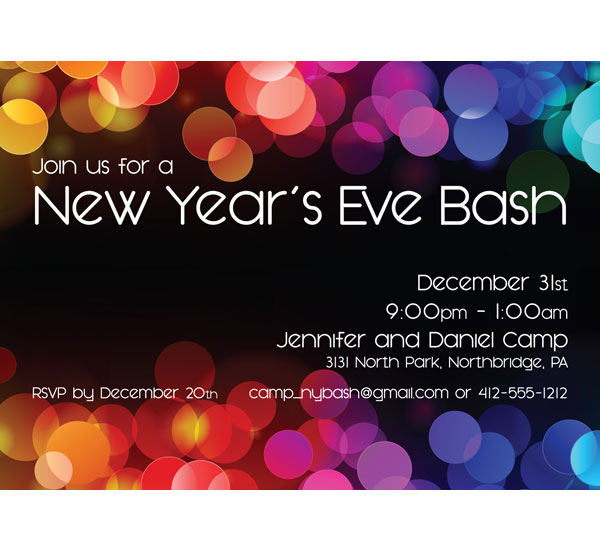 A New Years Colors Party Invitation