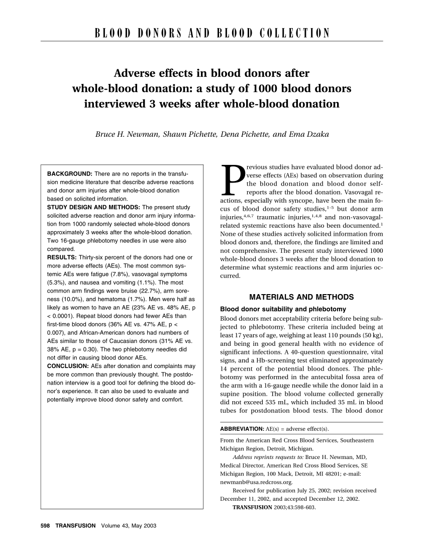 Moderne H User Pl Ne In Blood Toward A More Stable Blood Supply Charitable Incentives Donation