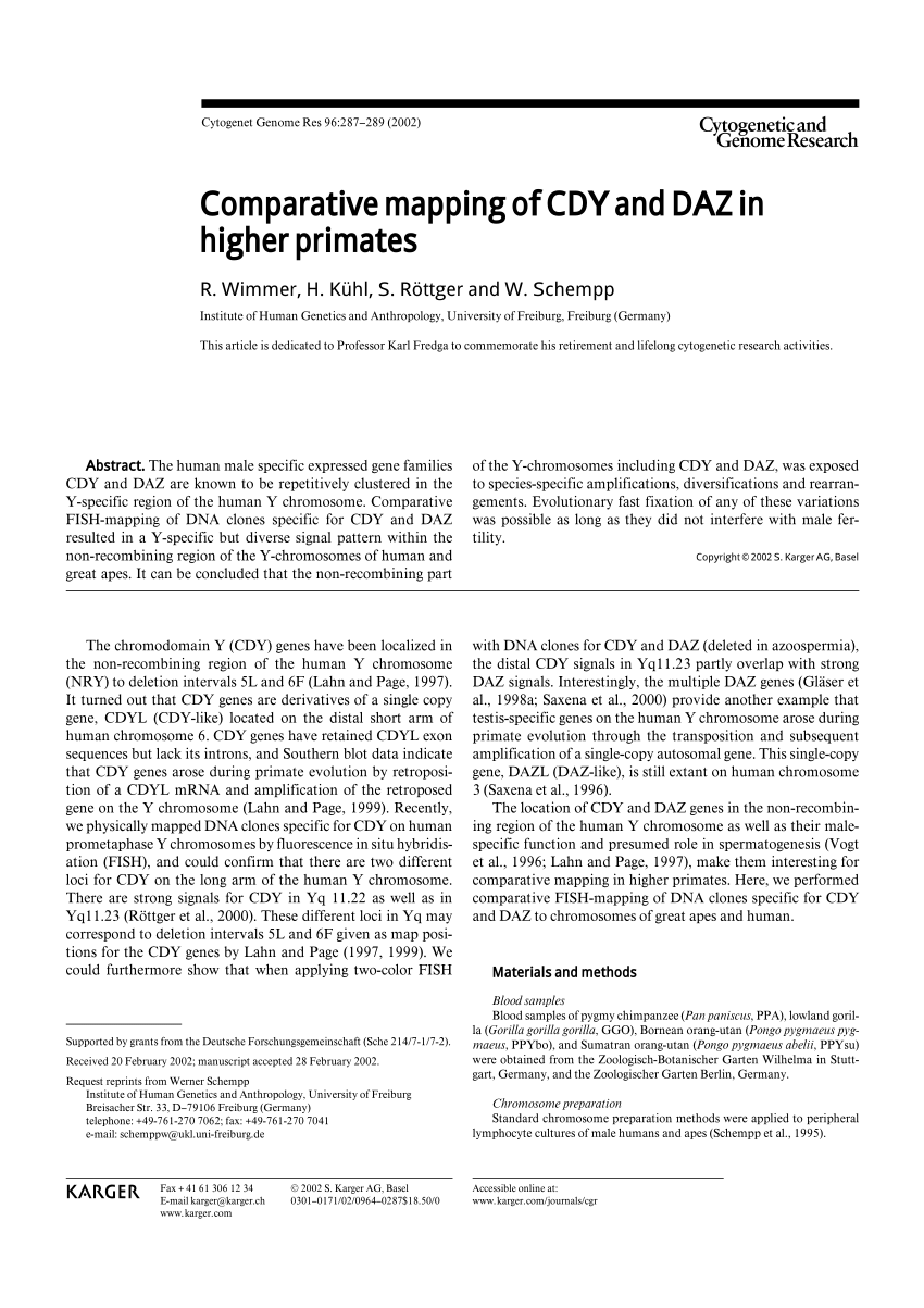 Garten Online Ch Pdf Comparative Mapping Of Cdy And Daz In Higher Primates