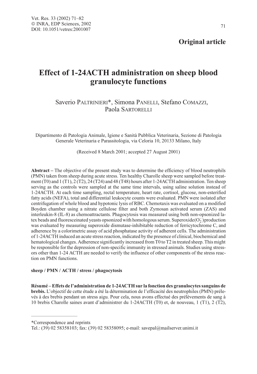 Chambre De Boyden Pdf Effect Of 1 24acth Administration On Sheep Blood Granulocyte
