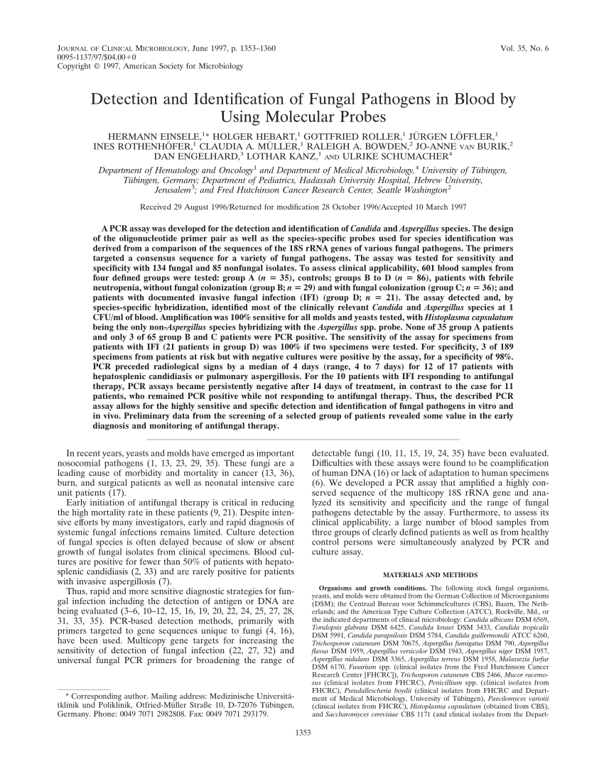 Tabourets Waterline Clinical Utility Of A Panfungal Polymerase Chain Reaction Assay