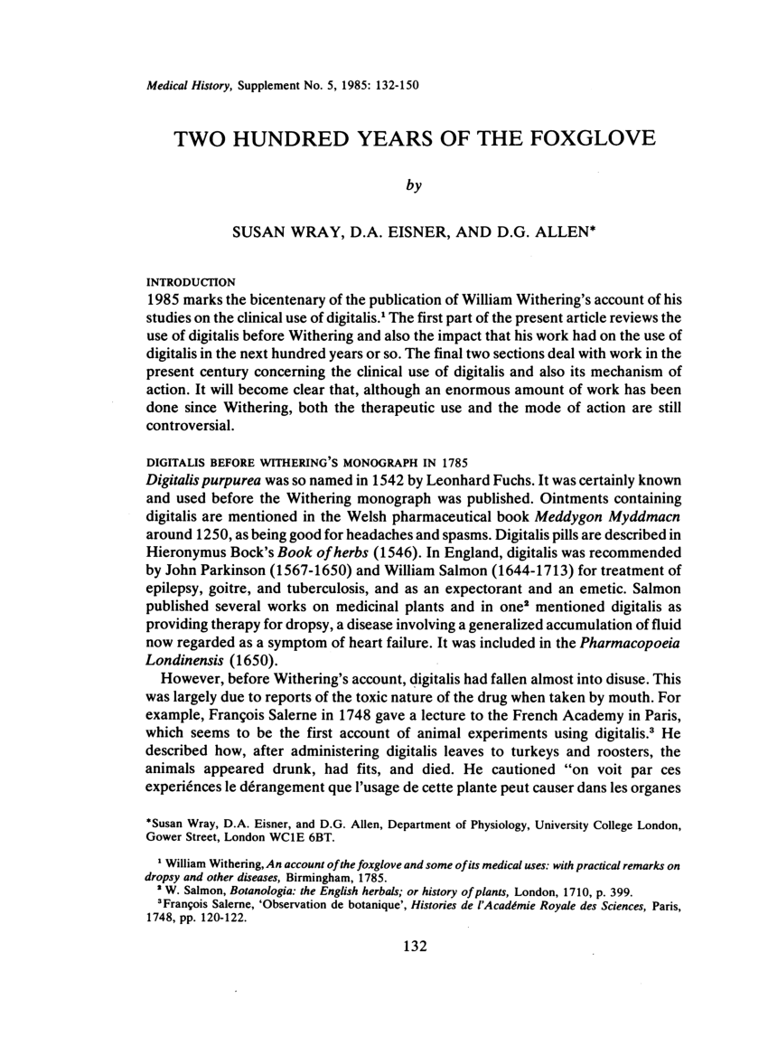 Point P Salernes Pdf Two Hundred Years Of The Foxglove