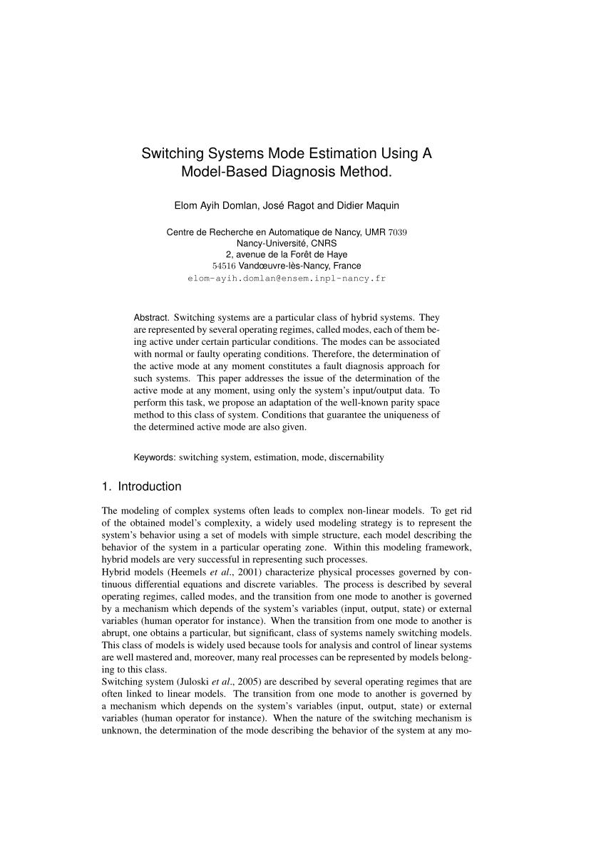 La Foret Estimation Pdf Switching Time Estimation Of Piecewise Linear Systems