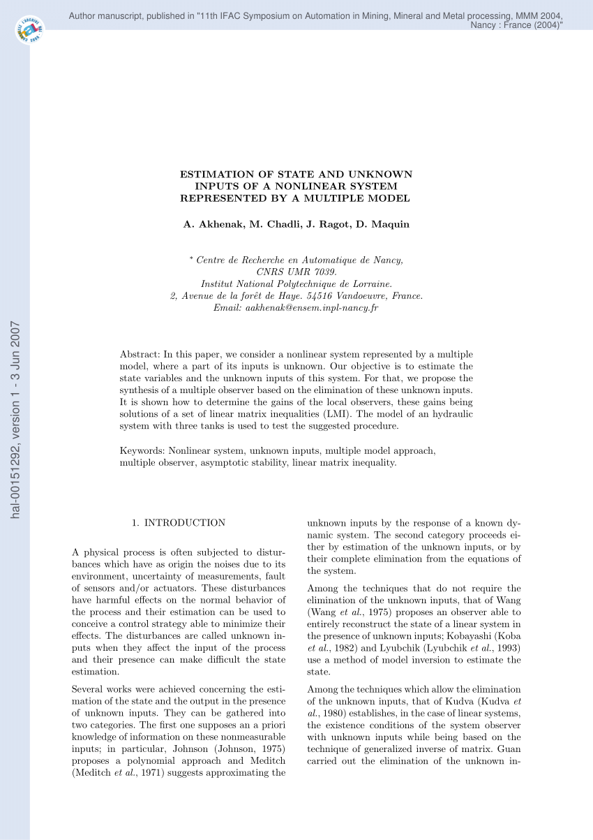La Foret Estimation Pdf Estimation Of State And Unknown Inputs Of A Non Linear System