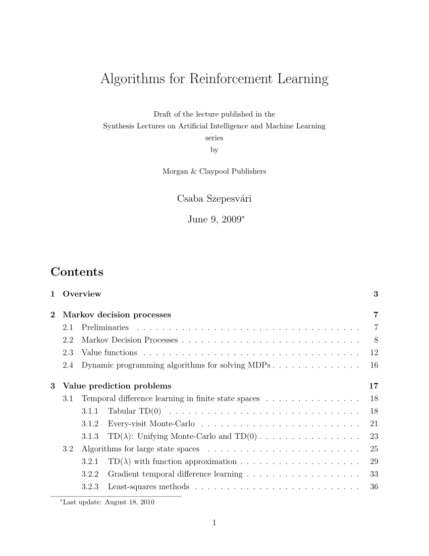 Renforce Learning Pdf Algorithms For Reinforcement Learning