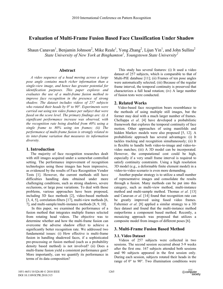 Large Frame Pattern Recognition Pdf Evaluation Of Multi Frame Fusion Based Face