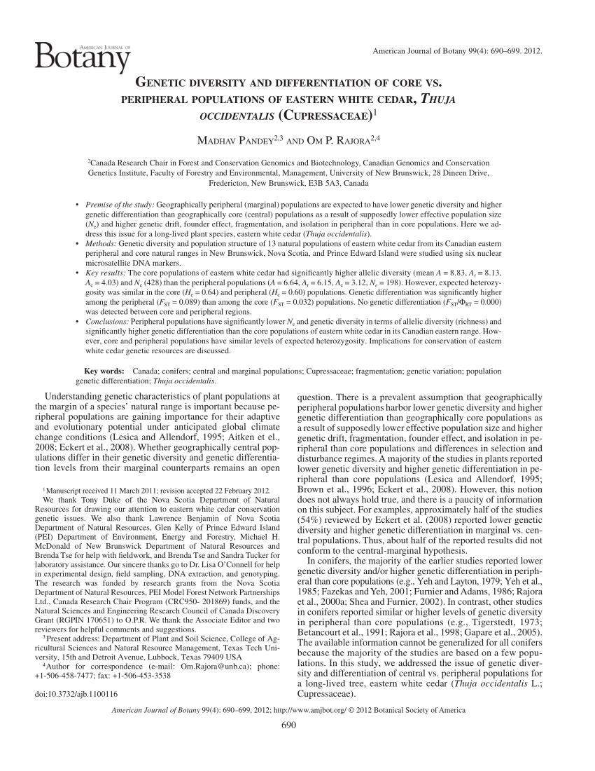 Thuja Lm 18 Pdf Genetic Diversity And Differentiation Of Core Vs