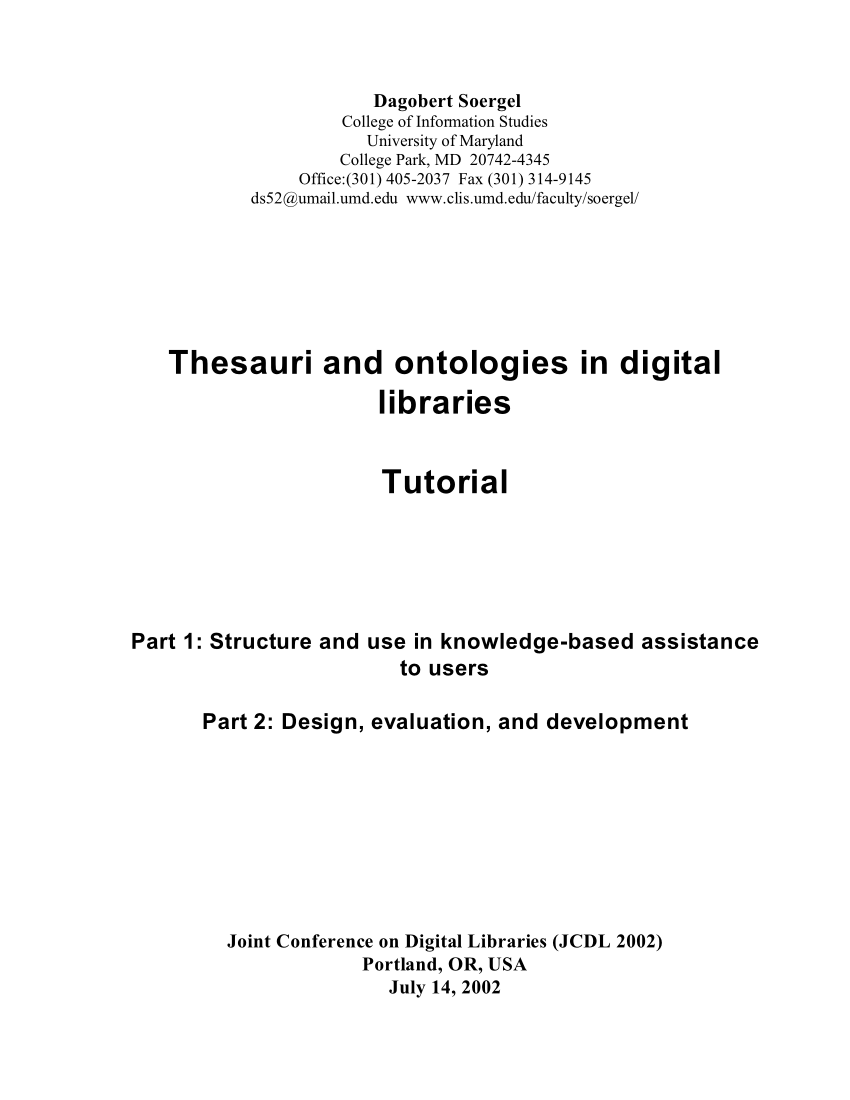 Standuhr Digital Pdf Thesauri And Ontologies In Digital Libraries