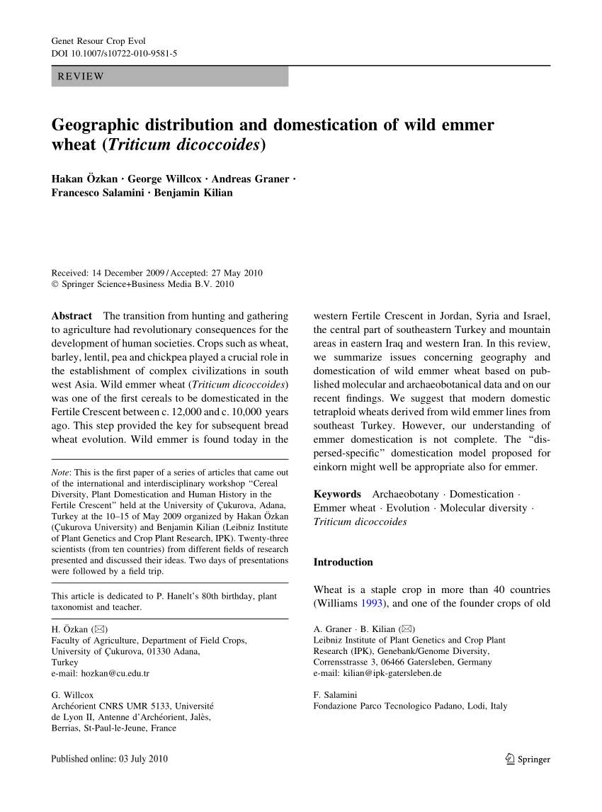 30 Liter Emmer Pdf Geographic Distribution And Domestication Of Wild Emmer Wheat