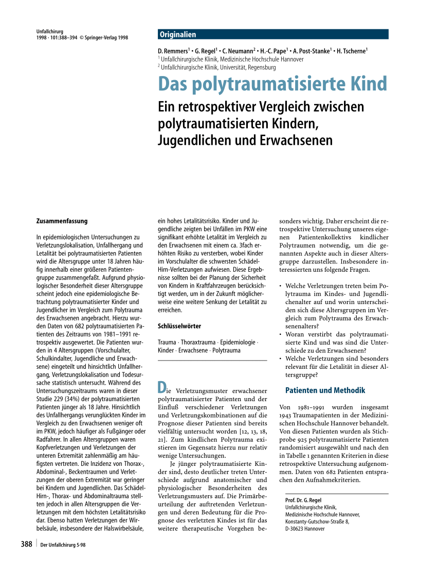 Second Hand Kinderkleidung Regensburg Polytrauma In Children Strategies For Management