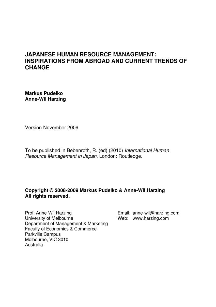 Hr Service Garten Pdf Japanese Human Resource Management Inspirations From Abroad