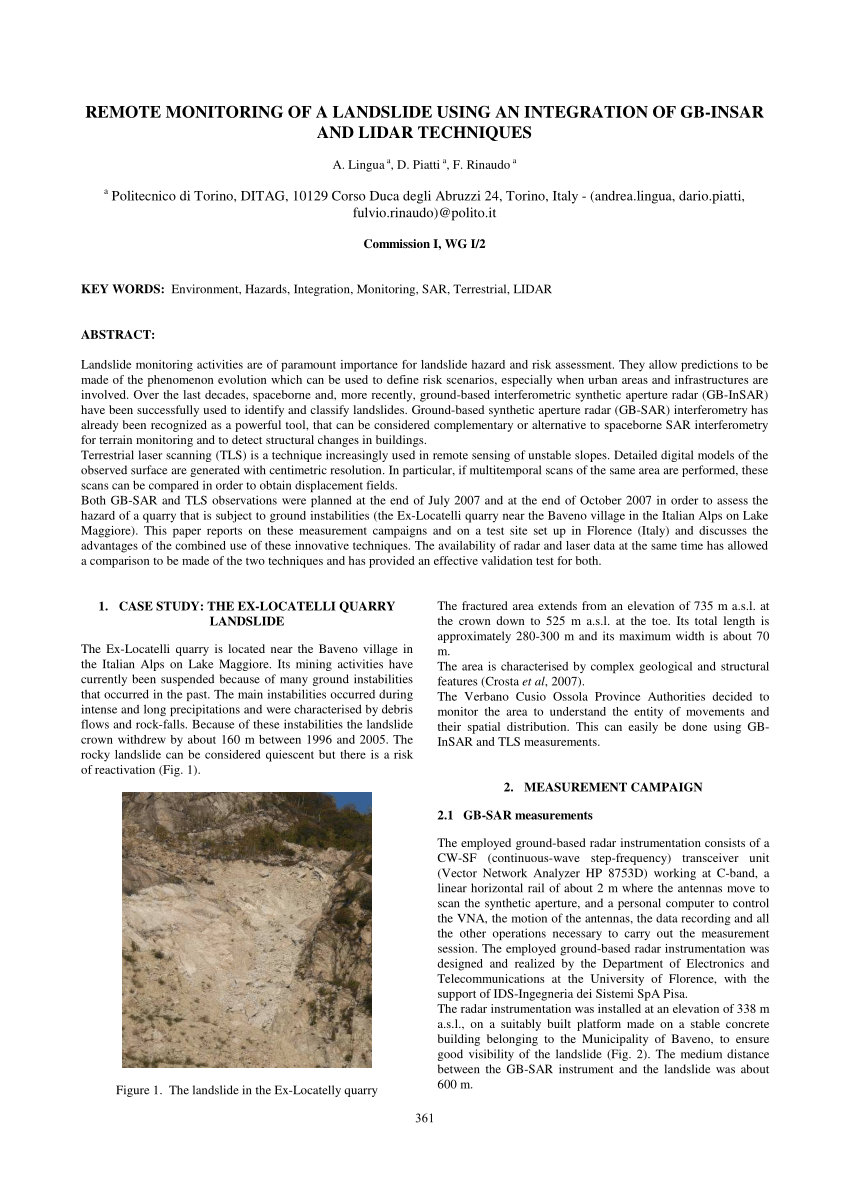 Piatti Quarry Pdf Remote Monitoring Of A Landslide Using An Integration Of Gb