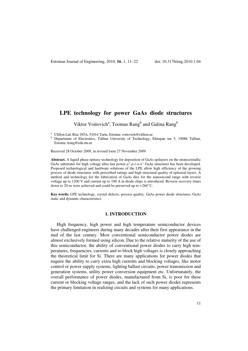 Rol Gaas Pdf Defect Engineering For Carrier Lifetime Control In High