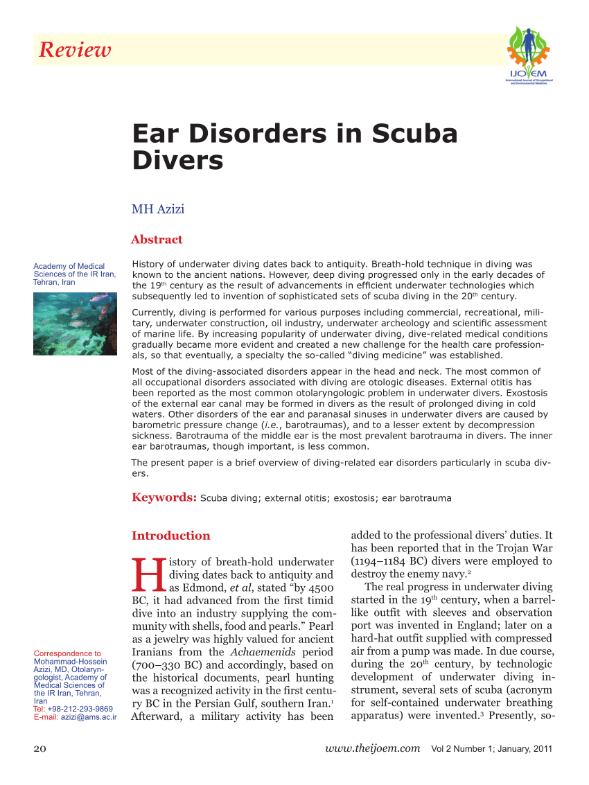 Otitis Piscina Acute Otitis Externa In Divers Working In The North Sea A