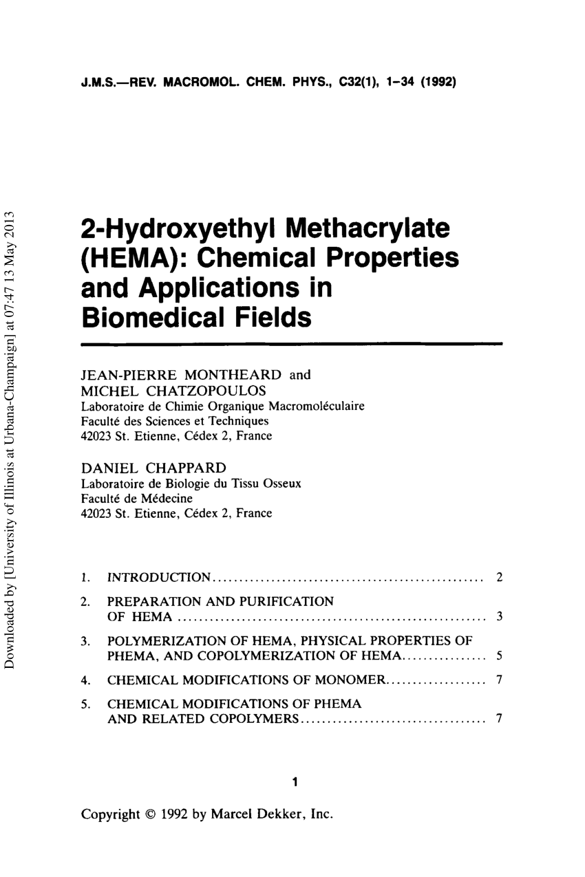 Spuitbus Lucht Hema Pdf 2 Hydroxyethyl Methacrylate Hema Chemical Properties And