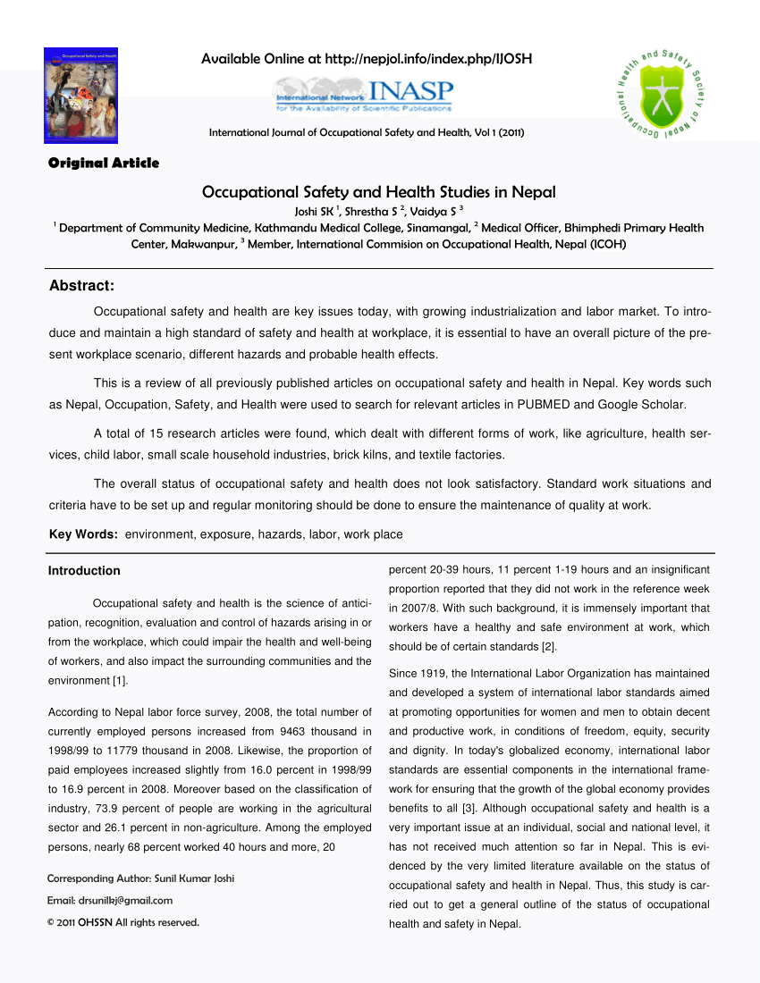 Labor Safety Pdf Occupational Safety And Health In Nepal