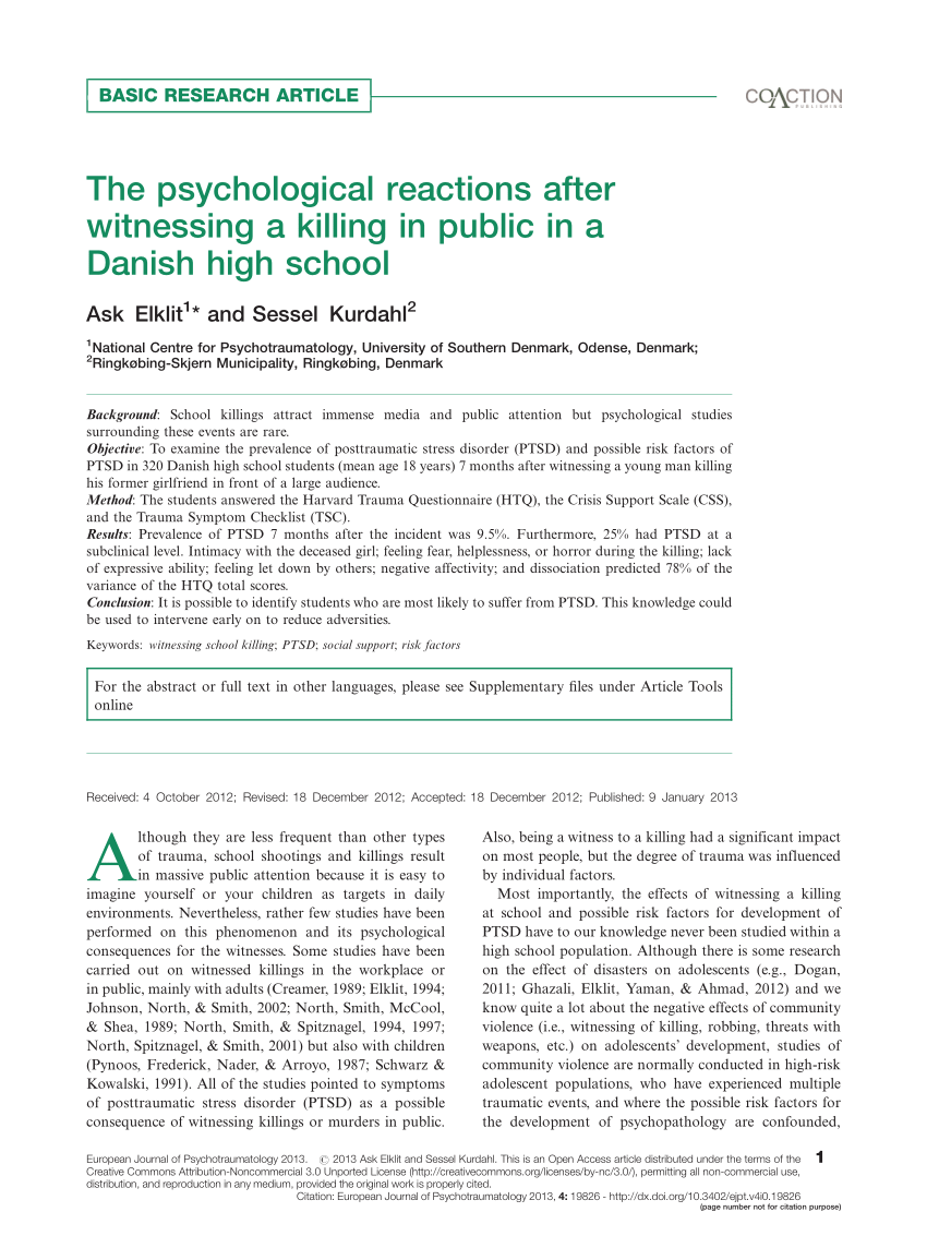 Aarhus Sessel Pdf The Psychological Reactions After Witnessing A Killing In
