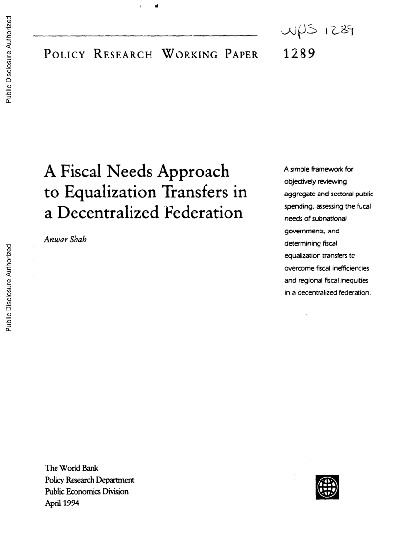 Cash Pooling Y Precios De Transferencia Pdf A Fiscal Needs Approach To Equalization Transfers In A
