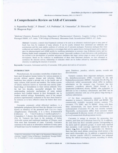 (PDF) A Comprehensive Review on SAR of Curcumin