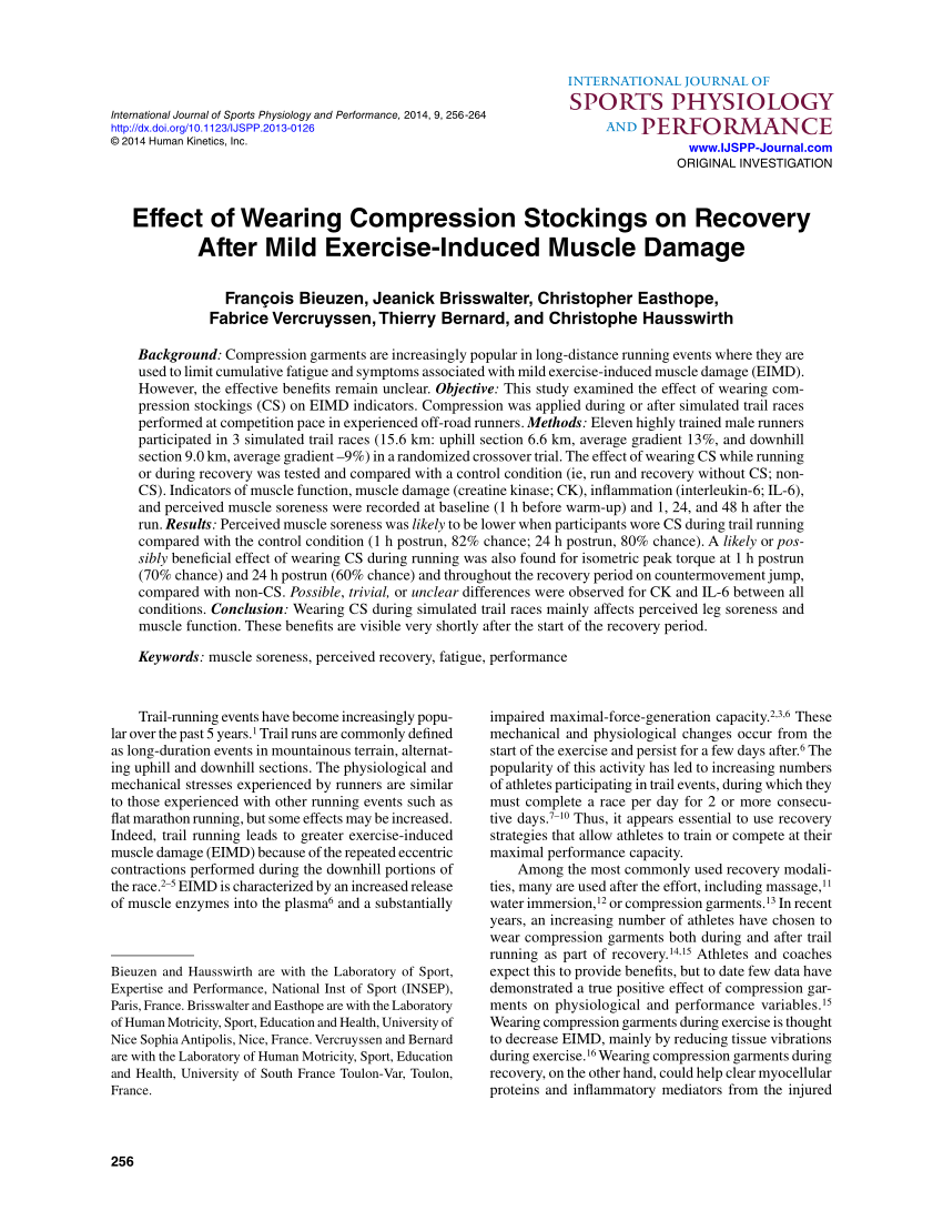 Casto Toulon Pdf Effect Of Wearing Compression Stockings On Recovery After