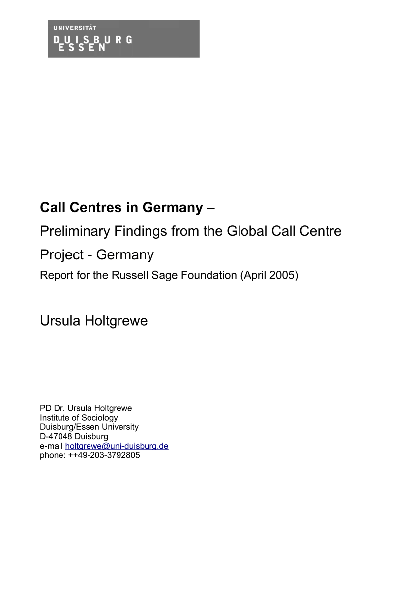 Gfk Pool Duisburg Pdf Call Centres In Germany Employment Training And Job Design