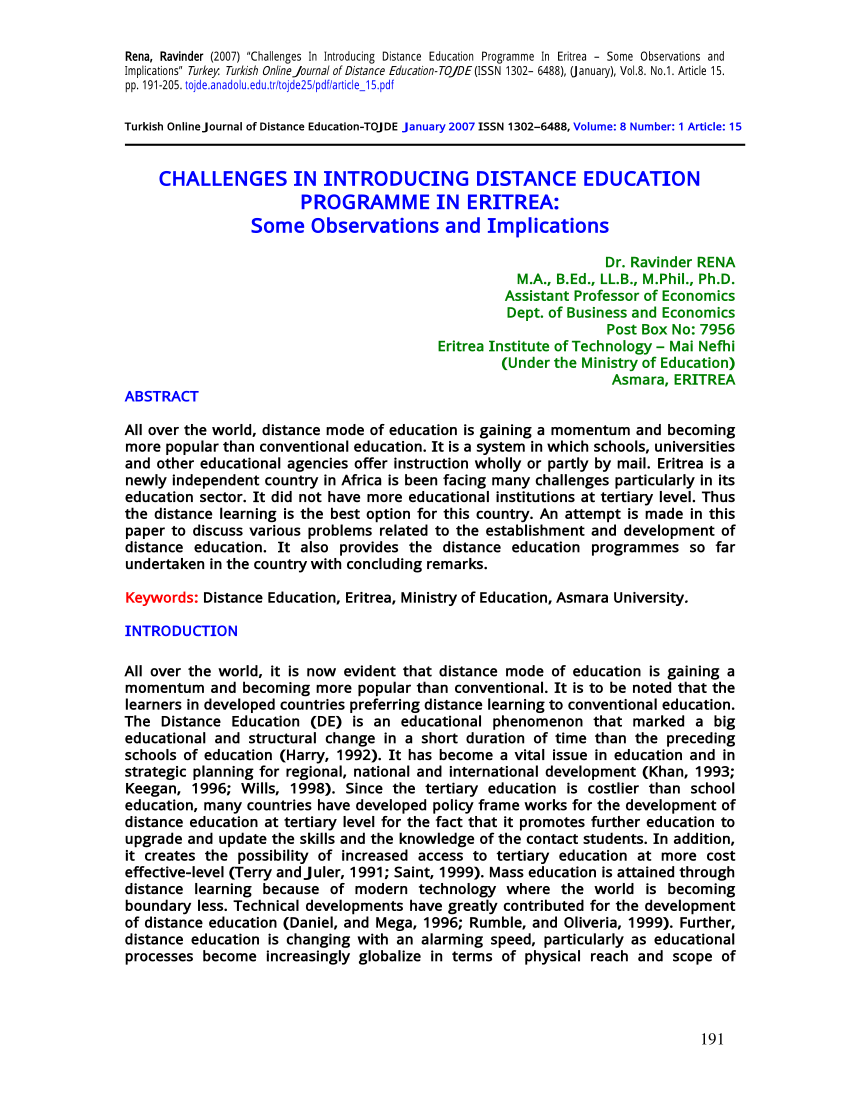 Pdf Challenges In Introducing Distance Education Programme In Eritrea Some Observations And Implications