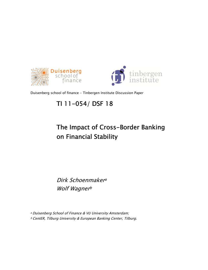 Dsf Bank Pdf The Impact Of Cross Border Banking On Financial Stability