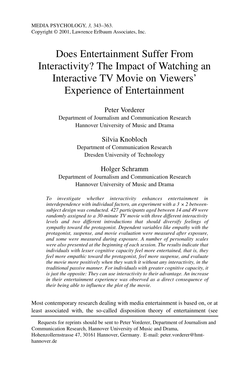 Media Tv Hannover Pdf Does Entertainment Suffer From Interactivity The Impact Of