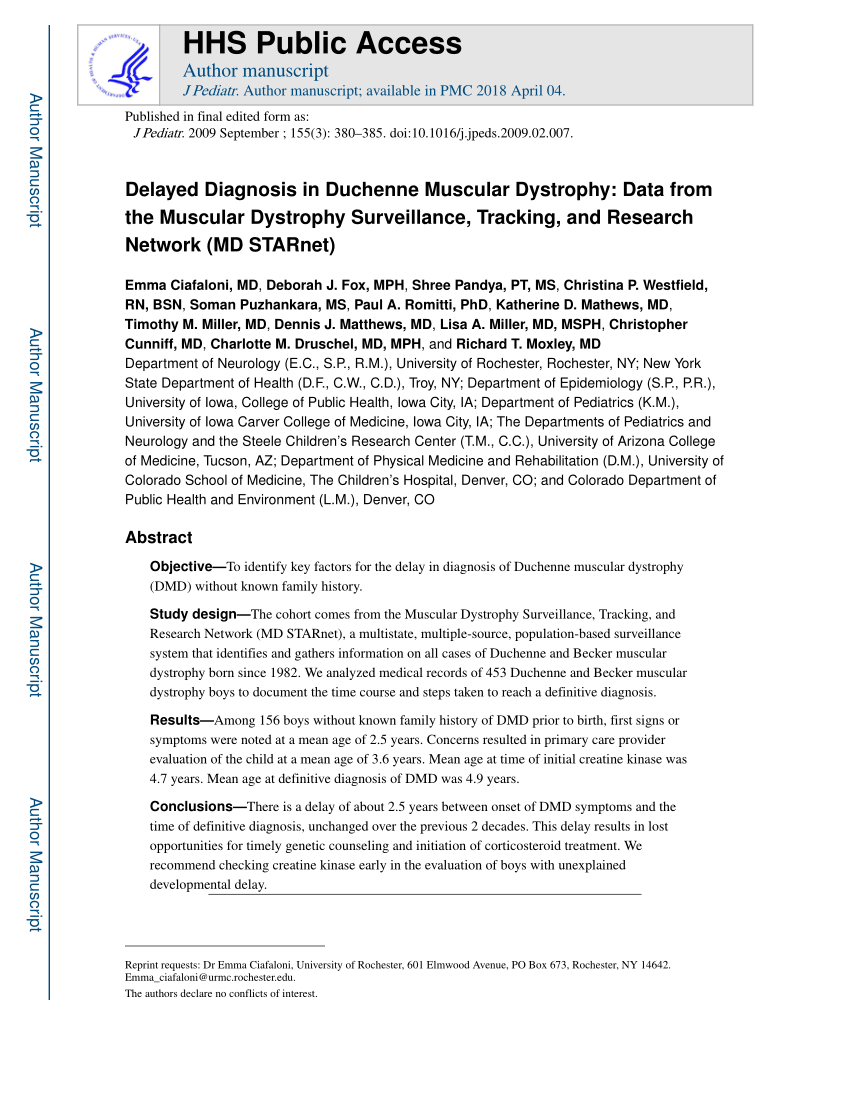 Duchenne Muscular Dystrophy Symptoms Toddlers Pdf Delayed Diagnosis In Duchenne Muscular Dystrophy Data From