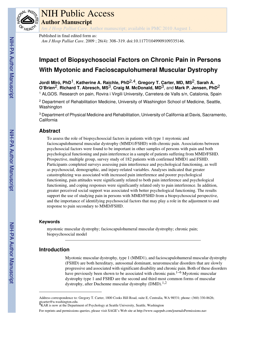 Duchenne Muscular Dystrophy Nih Pdf Impact Of Biopsychosocial Factors On Chronic Pain In Persons