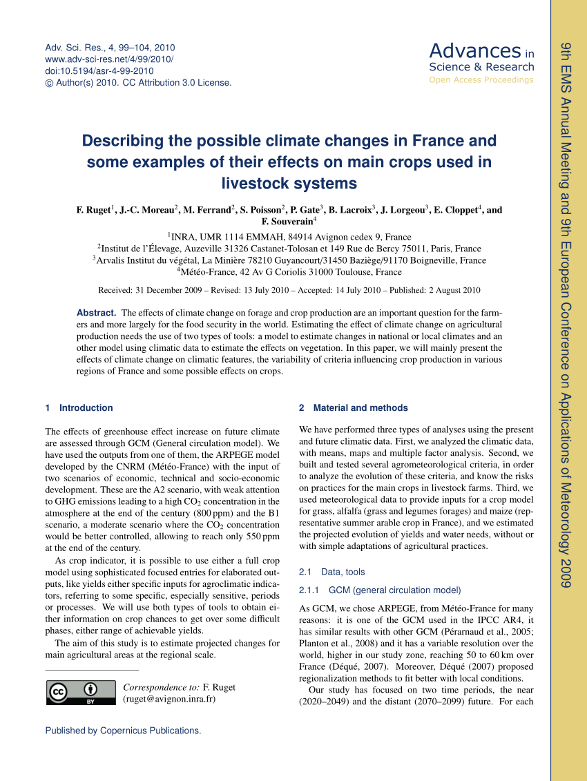 Meteo France Avignon Effect Of Climate Change On Grassland Production For Herbivorous