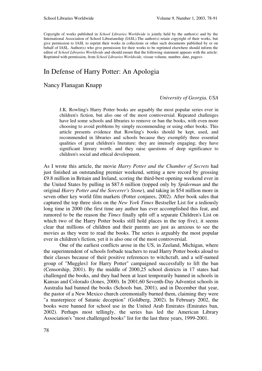 Libros De Harry Potter Pdf Pdf In Defense Of Harry Potter An Apologia