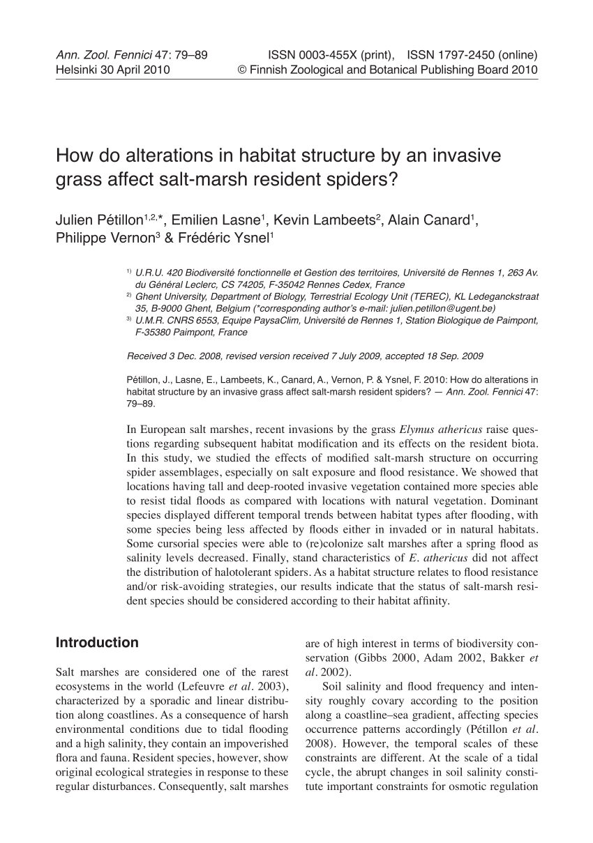 Rennes Habitat Pdf How Do Alterations In Habitat Structure By An Invasive Grass