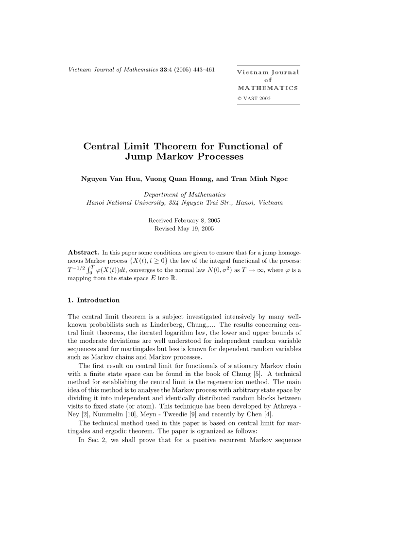 Minh Ngoc X Pdf Central Limit Theorem For Functional Of Jump Markov Processes