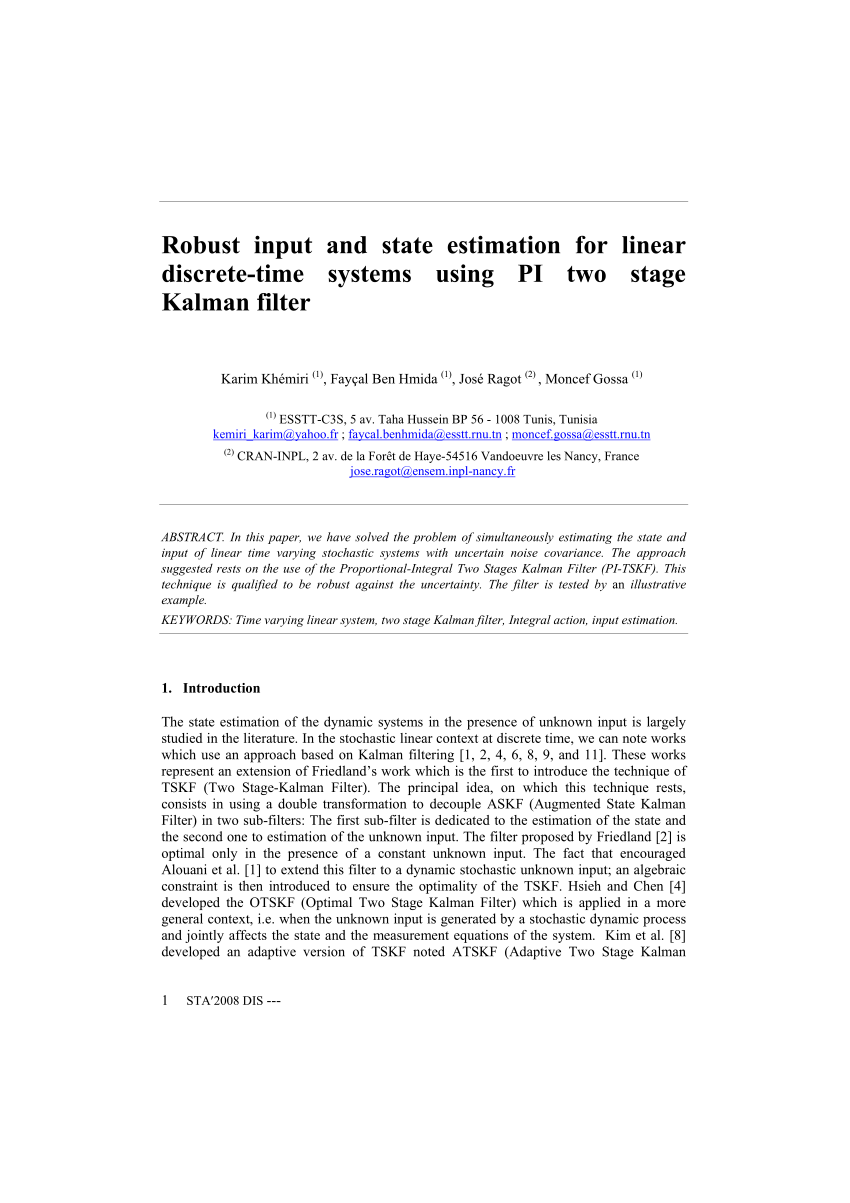 La Foret Estimation Pdf Robust Input And State Estimation For Linear Discrete Time