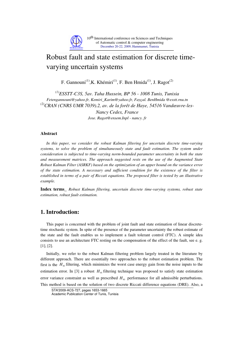 La Foret Estimation Pdf Robust Fault And State Estimation For Discrete Time Varying