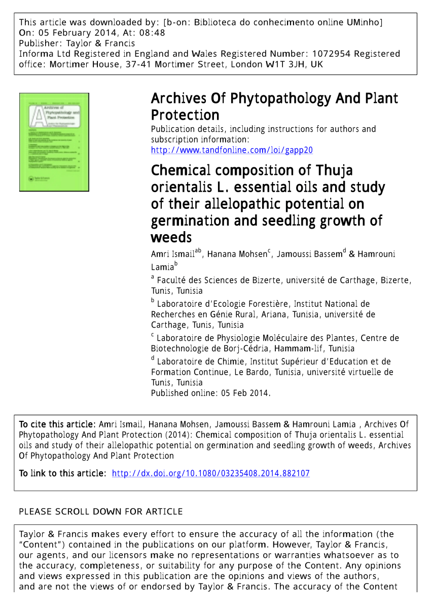 Thuja Lm 18 Pdf Chemical Composition Of Thuja Orientalis L Essential