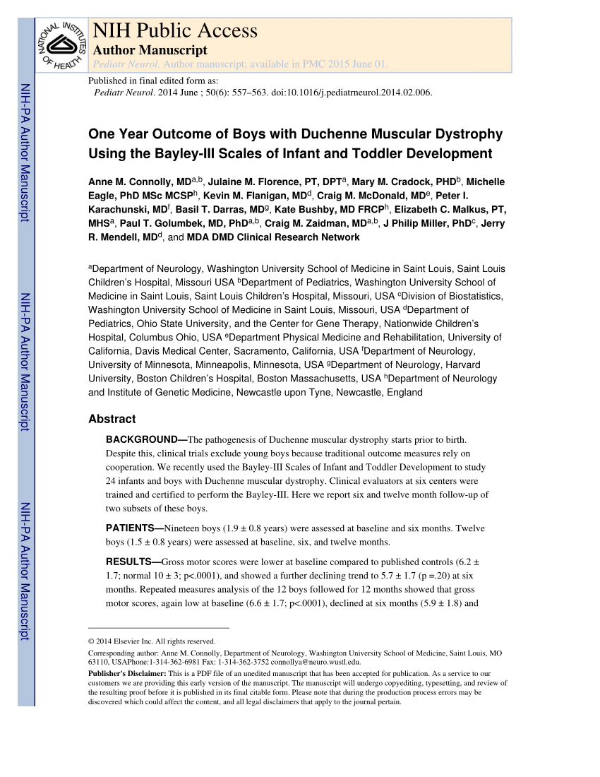 Duchenne Muscular Dystrophy Nih Pdf One Year Outcome Of Boys With Duchenne Muscular Dystrophy