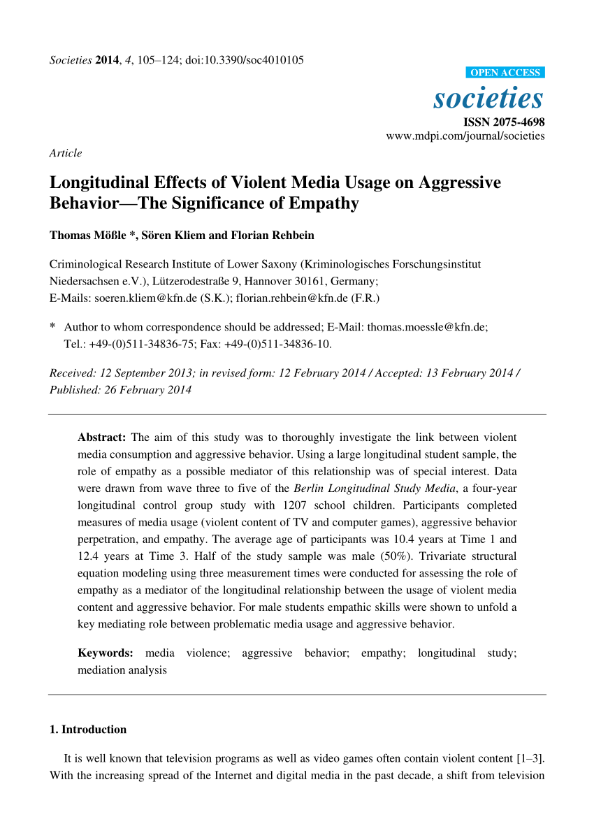 Media Tv Hannover Pdf Longitudinal Effects Of Violent Media Usage On Aggressive