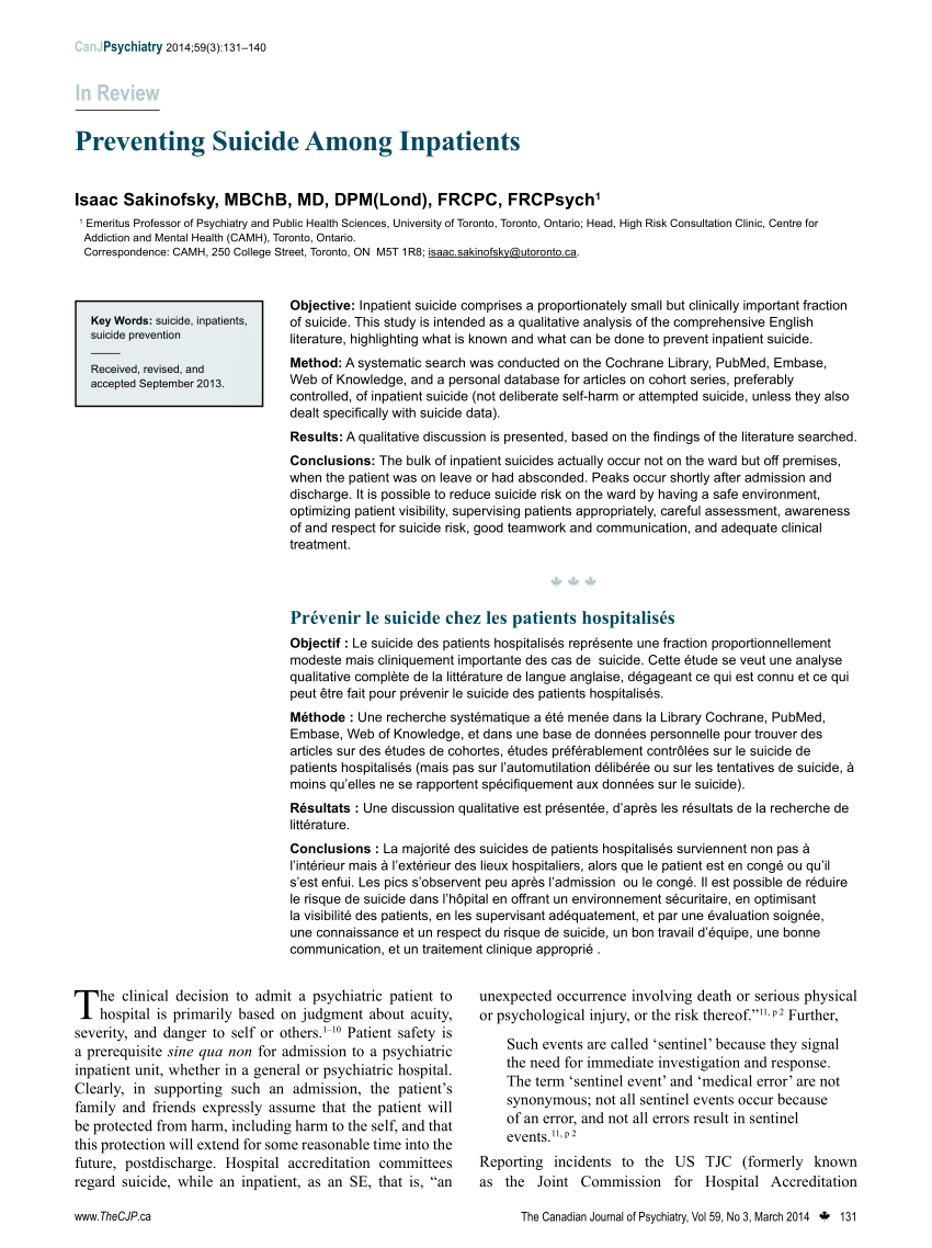 Tjc Interieur Pdf Preventing Suicide Among Inpatients