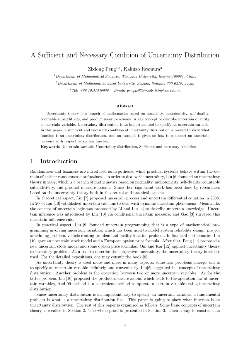Chambre De Boyden (pdf) A Sufficient And Necessary Condition Of Uncertainty