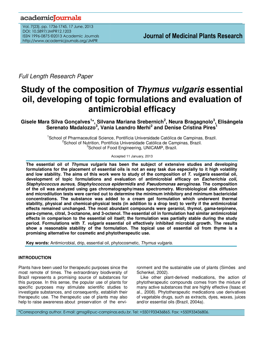 Arte Verde Essential Oil Pdf Study Of The Composition Of Thymus Vulgaris Essential Oil