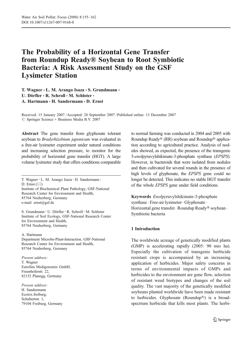 Dörfler Neumarkt Pdf The Probability Of A Horizontal Gene Transfer From Roundup