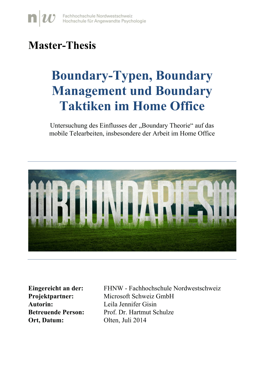 Home Office Telearbeit Pdf Boundary Type Boundary Management And Boundary Tactics In