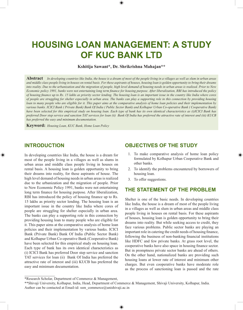 Bank For Home Loan In India Pdf Housing Loan Management A Study Of Kuc Bank Ltd