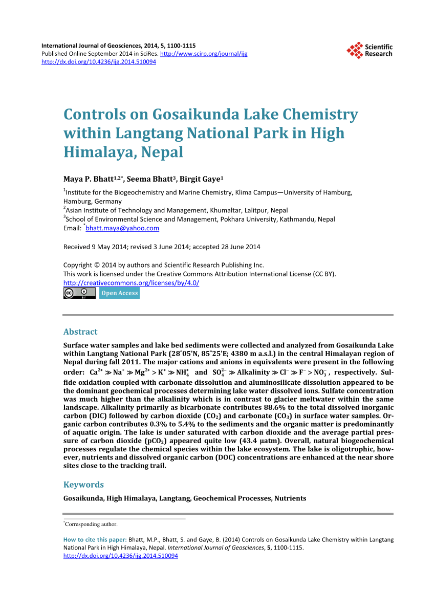 Himalaya Hamburg Pdf Controls On Gosaikunda Lake Chemistry Within Langtang