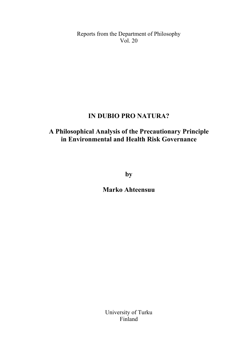 Pro Natura Bettdecken (pdf) In Dubio Pro Natura? A Philosophical Analysis Of The